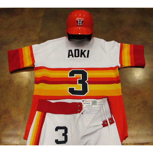 Photo of Nori Aoki Astros Game-Used Turn Back The Clock Uniform 6/24/17