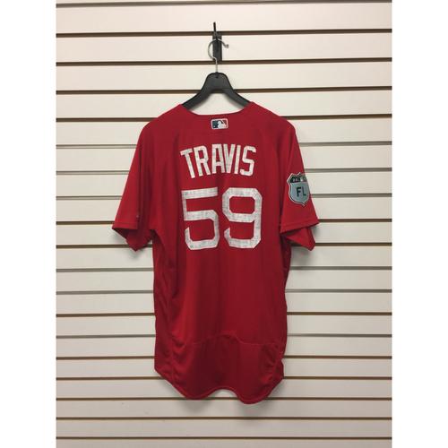 Sam Travis Team-Issued Spring Training Jersey