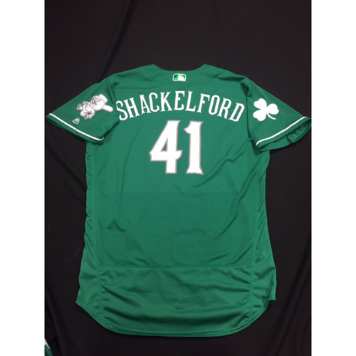 Photo of Kevin Shackelford -- Game-Used -- Irish Heritage Jersey -- Worn for Bronson Arroyo Farewell Game -- Red Sox vs. Reds -- 9/23/17