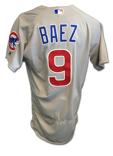 Javier Baez Game-Used Jersey -- Baez 1 for 4 -- Cubs Clinch 2017 NL Central Division -- Cubs at Cardinals -- 9/27/17