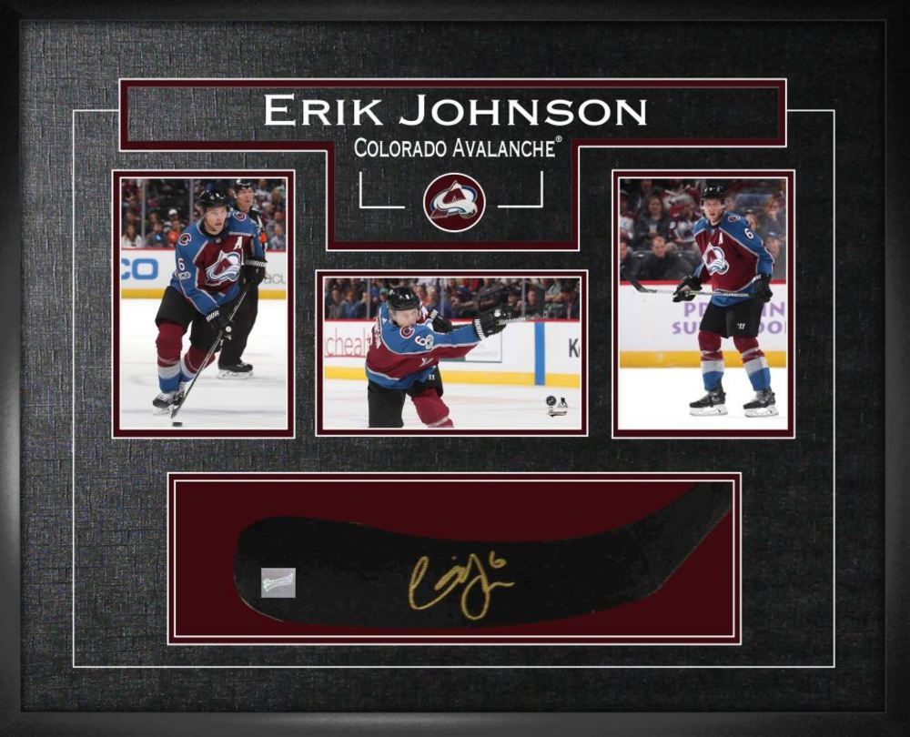 Erik Johnson - Signed Stickblade Avalanche w/3-4x6 Photos