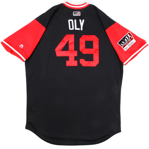 """Photo of Tyler """"Oly"""" Olson Cleveland Indians Game-Used Players Weekend Jersey"""