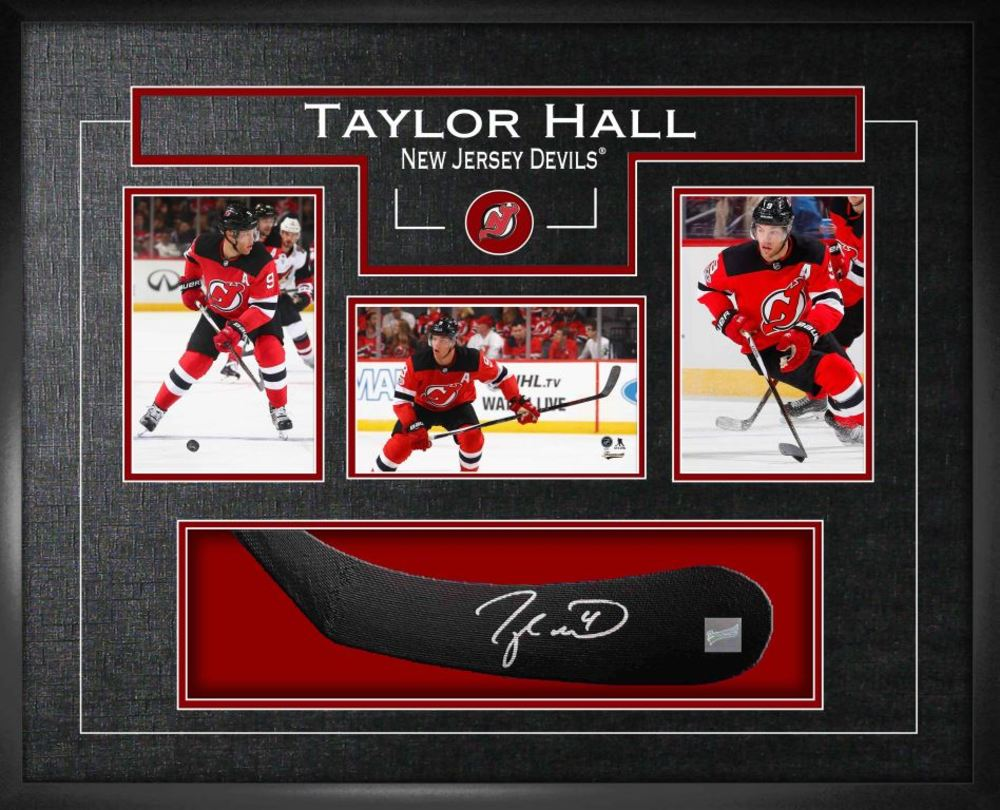 Taylor Hall - Signed Stickblade Devils w/3-4x6 Photos
