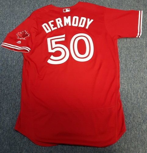 Photo of Authenticated Game Used Jersey - #50 Matt Dermody (July 30, 2017: Winning Pitcher with 3 IP and 0 ER with 0 Ks. 1st MLB Win). Size 48.