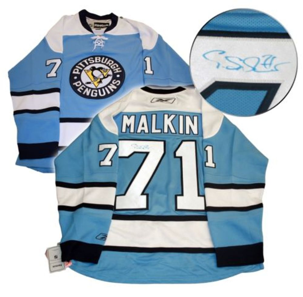 Malkin,E Signed Jersey Penguins Light Blue 3rd Jersey