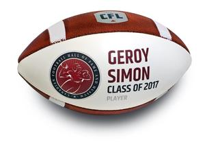 Hall of Fame Geroy Simon autographed induction football