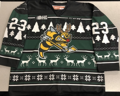 Curtis Egert Sarnia Sting game worn 2018 Ugly Christmas Sweater jersey