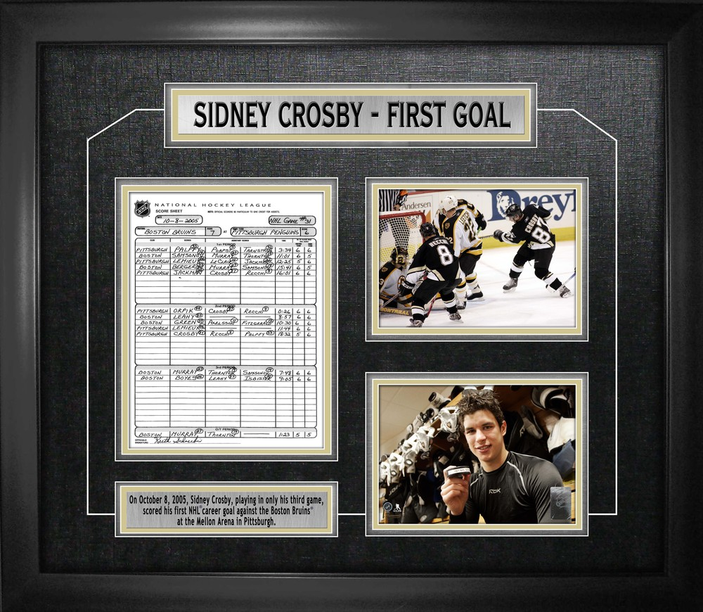 Sidney Crosby - Framed First Goal Collage Scoresheet
