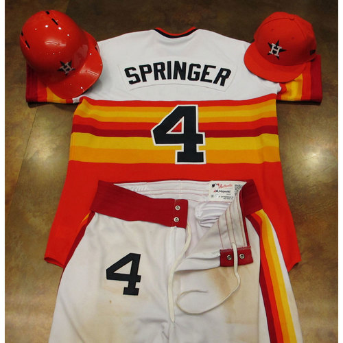 Photo of George Springer Astros Game-Used Turn Back The Clock Uniform 6/24/17