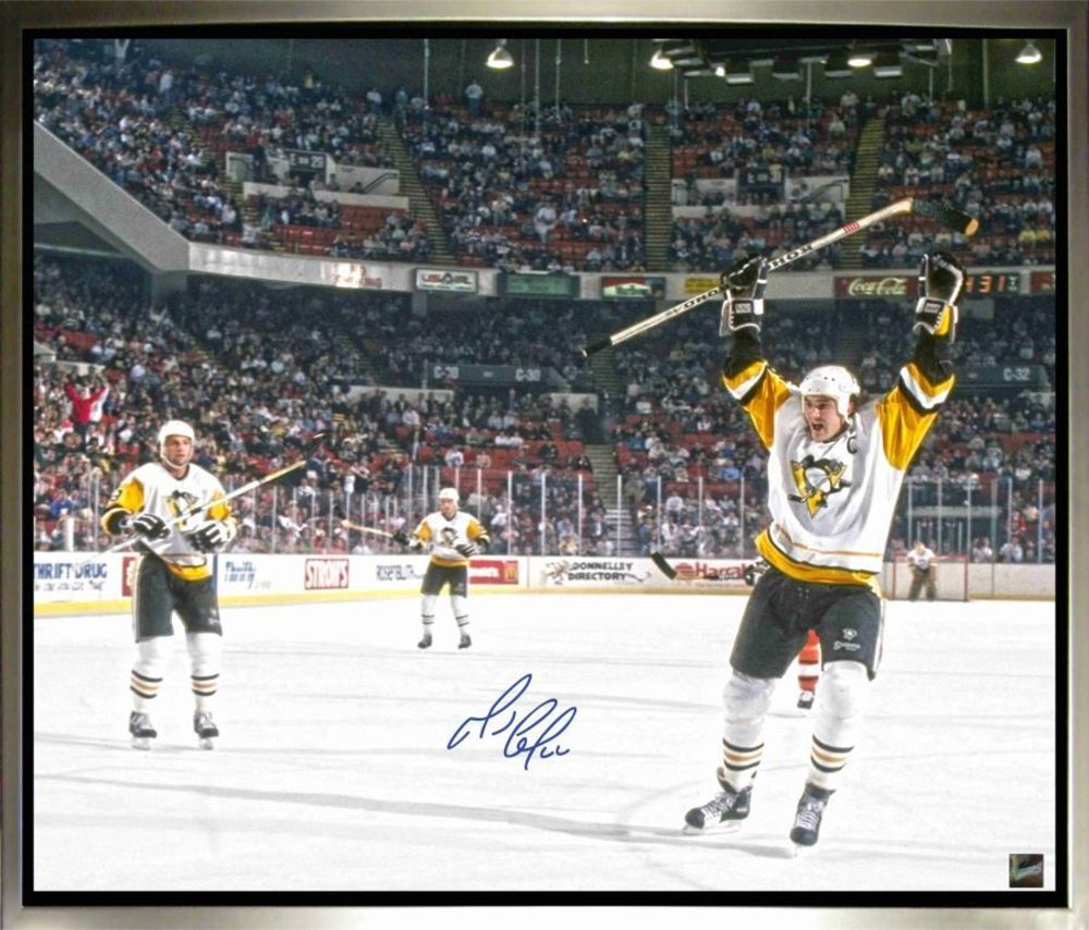 Mario Lemieux - Signed & Framed 20 x 24 Canvas - Pittsburgh Penguins Celebration