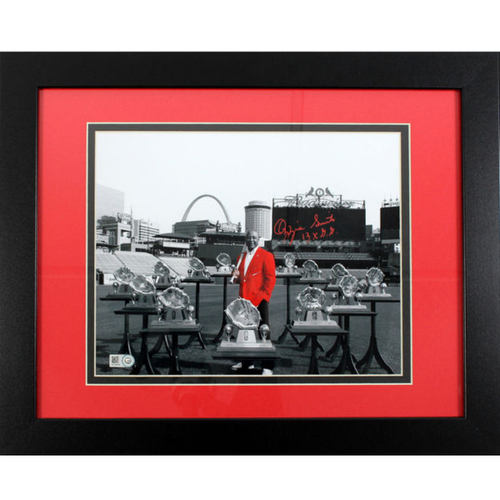 "Photo of Cardinals Authentics: Ozzie Smtih Autographed and Inscribed Gold Glove Photo 11""x14"""