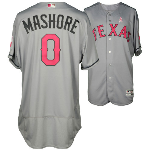 Photo of Justin Mashore Texas Rangers Game-Used Grey and Pink Mother's Day Jersey vs. Detroit Tigers on May 8, 2016