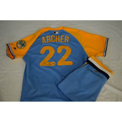 Photo of Game-Used Autographed Turn Back the Clock Jersey and Pants: Chris Archer