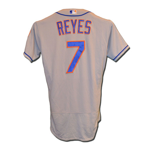 Photo of Jose Reyes #7 - Game Used Road Grey Jersey - Reyes Collects 5 RBI - Mets vs. Braves - 5/3/17