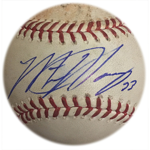 Photo of Matt Harvey #33 - Game Used Autographed Baseball - Harvey Goes 8 IP With 11 K's - Matt Harvey to Dee Gordon - 5th Inning - Mets vs. Marlins - 5/29/15