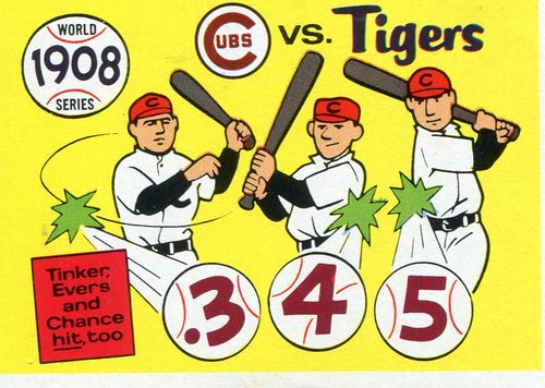 Photo of 1970 Fleer Laughlin World Series Blue Backs #5 1908 Cubs/Tigers (Tinker, Evers, Chance)