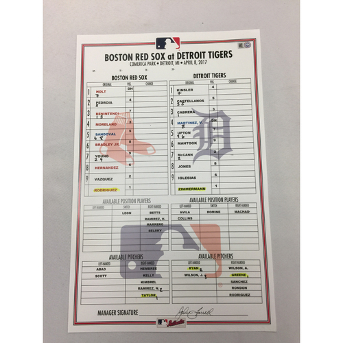 Photo of April 8, 2017 Red Sox at Tigers Game-Used Lineup Card