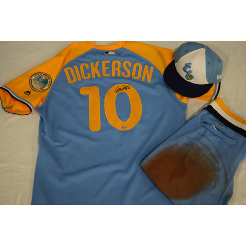 Photo of Game-Used Autographed Turn Back the Clock Jersey, Hat and Pants: Corey Dickerson