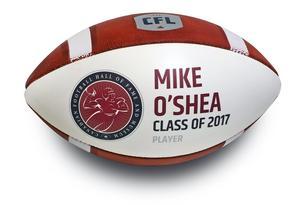 Hall of Fame Mike O'Shea autographed induction football