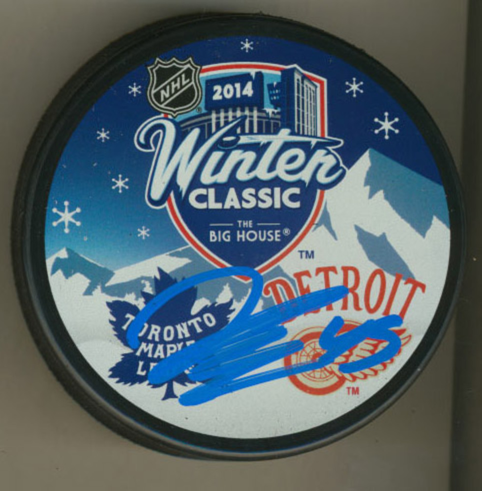JONATHAN BERNIER Toronto Maple Leafs Autographed 2014 Winter Classic Hockey Puck