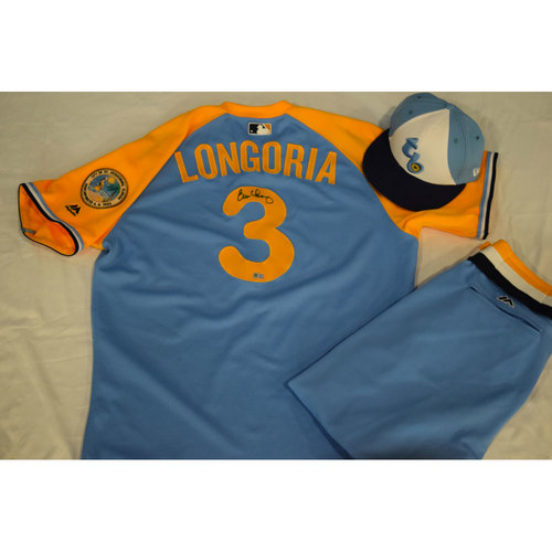 Photo of Game-Used Autographed Turn Back the Clock Jersey, Hat and Pants: Evan Longoria