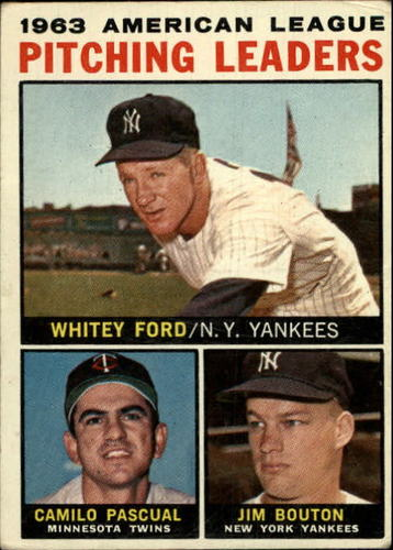 Photo of 1964 Topps #4 AL Pitching Leaders/Whitey Ford/Camilo Pascual/Jim Bouton