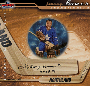 JOHNNY BOWER Signed Vintage Northland Stick - Toronto Maple Leafs