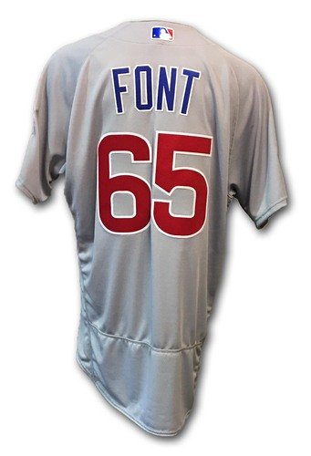 Photo of Franklin Font Game-Used Jersey -- Cubs at Dodgers -- NLCS Game 4 -- 10/19/16 and NLCS Game 5 -- 10/20/16