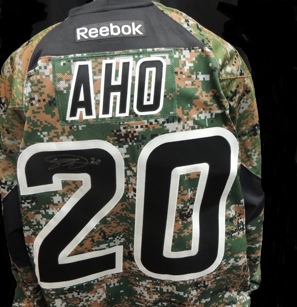 Carolina Hurricanes Sebastian Aho #20 Military Appreciation Jersey