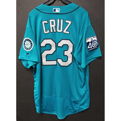Photo of Nelson Cruz Green 40th Anniversary Game-Used Jersey 4/17/2017 Size 50