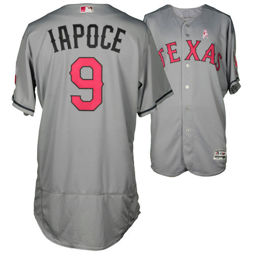 Photo of Anthony Iapoce Texas Rangers Game-Used Grey And Pink Mother's Day Jersey Vs. Detroit Tigers On May 8, 2016