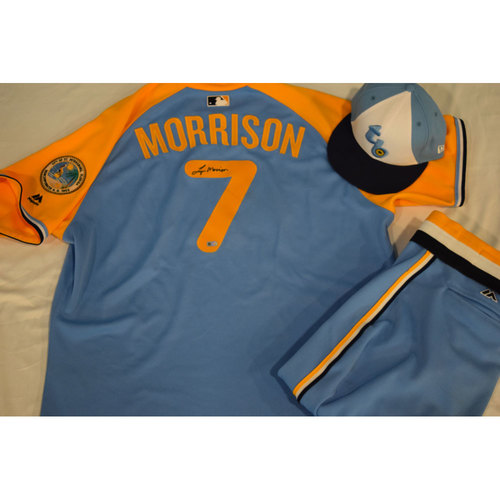 Photo of Game-Used Autographed Turn Back the Clock Jersey, Hat and Pants: Logan Morrison