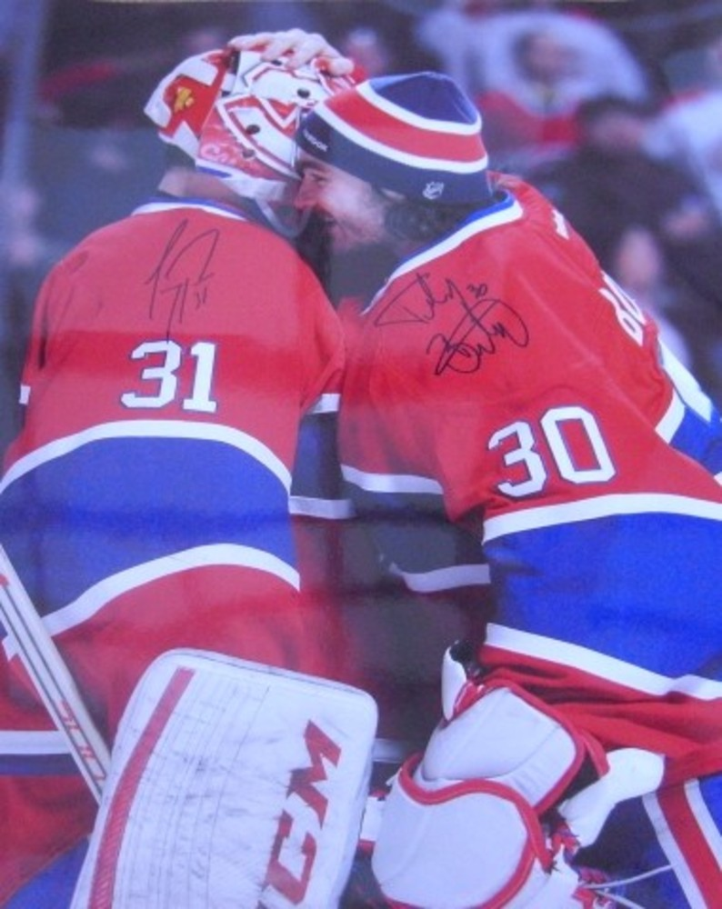 Carey Price and Peter Budaj DUAL autographed 16x20 CELEBRATION