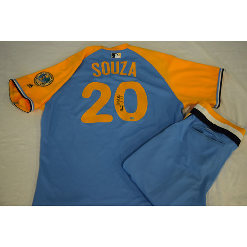 Photo of Game-Used Autographed Turn Back the Clock Jersey and Pants: Steven Souza Jr.