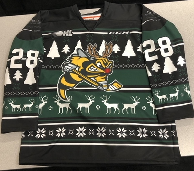 Kelton Hatcher Sarnia Sting game worn 2018 Ugly Christmas Sweater jersey
