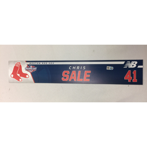 Photo of Chris Sale Game-Used April 3, 2017 Opening Day Locker Tag