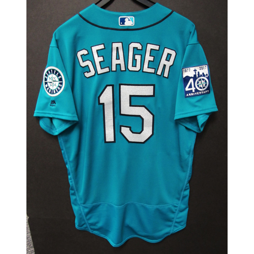 Photo of Kyle Seager Green 40th Anniversary Game-Used Jersey 4/17/2017  Size 46