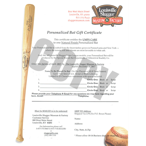 Photo of UMPS CARE AUCTION: Louisville Slugger Personalized Bat