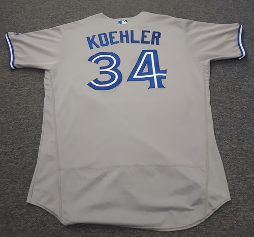 Authenticated Game Used Jersey - #34 Tom Koehler (September 30, 2017). Size 50.