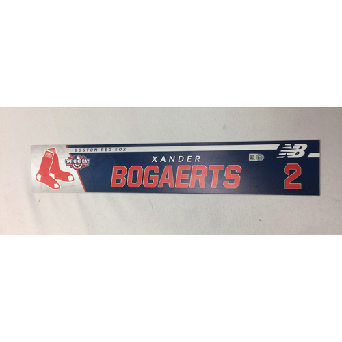 Photo of Xander Bogaerts Game-Used April 3, 2017 Opening Day Locker Tag