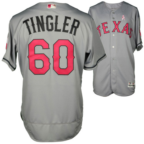 Photo of Jayce Tingler Texas Rangers Game-Used Grey And Pink Mother's Day Jersey Vs. Detroit Tigers On May 8, 2016
