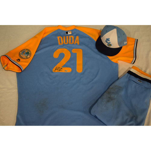Photo of Game-Used Autographed Turn Back the Clock Jersey, Hat and Pants: Lucas Duda