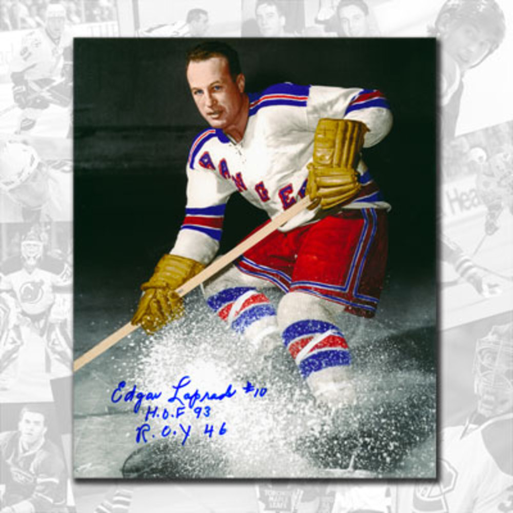 Edgar Laprade New York Rangers Autographed 16x20 w/ HOF & ROY 46 Inscriptions