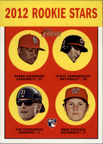 Photo of 2012 Topps Heritage #265 Adron Chambers RC/Steve Lombardozzi RC/Tim Federowicz RC/Brad Peacock RC