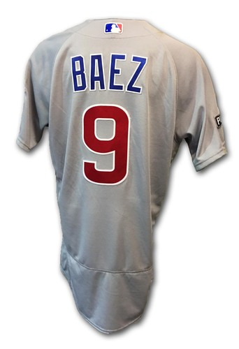 Photo of Javier Baez Game-Used Jersey -- Cubs at Dodgers -- NLCS Game 4 -- Baez 1 for 3; 1 Run, 1 RBI -- 10/19/16 and NLCS Game 5 -- Baez 3 for 5; 3 RBI -- 10/20/16
