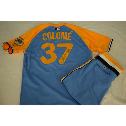 Photo of Game-Used Autographed Turn Back the Clock Jersey and Pants: Alex Colome