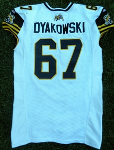 Hamilton Tiger-Cats game used jersey worn by Peter Dyakowski