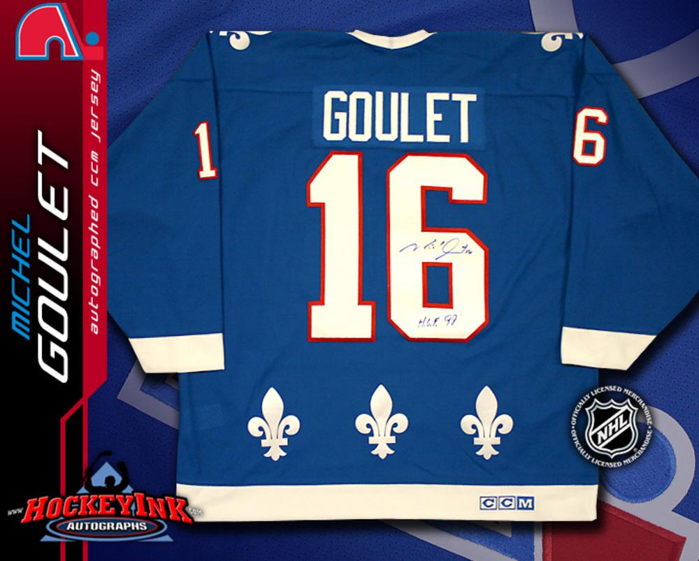 MICHEL GOULET Signed CCM Classic Blue Quebec Nordiques Jersey