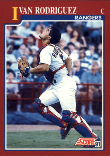 Photo of 1991 Score Rookie/Traded #82T Ivan Rodriguez rookie card -- Newest HOFer