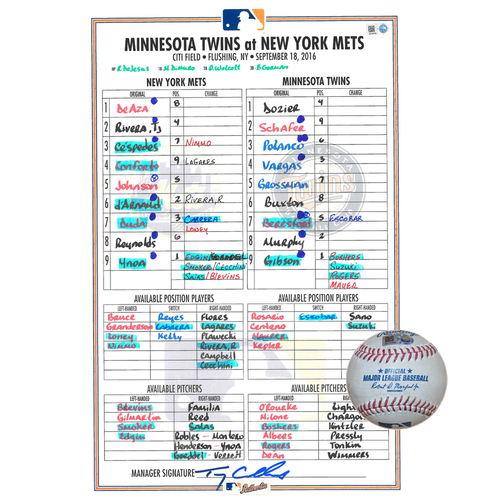 Photo of Game Used Lineup Card and Game Used Baseball Combination - Michael Conforto Goes 2-4 With 2 RBI's - Kyle Gibson to Kelly Johnson - Single - 6th Inning - Mets vs. Twins - 9/18/16